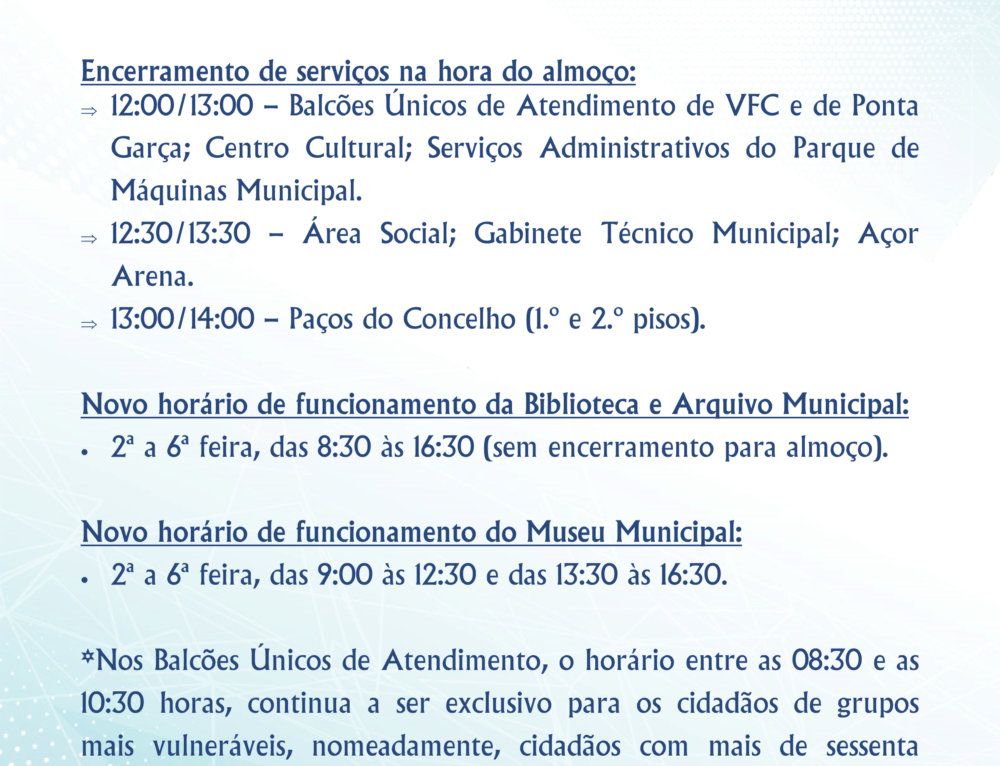 Atualização dos horários de funcionamento dos Serviços do Município face à situação epidemiológica – Covid-19